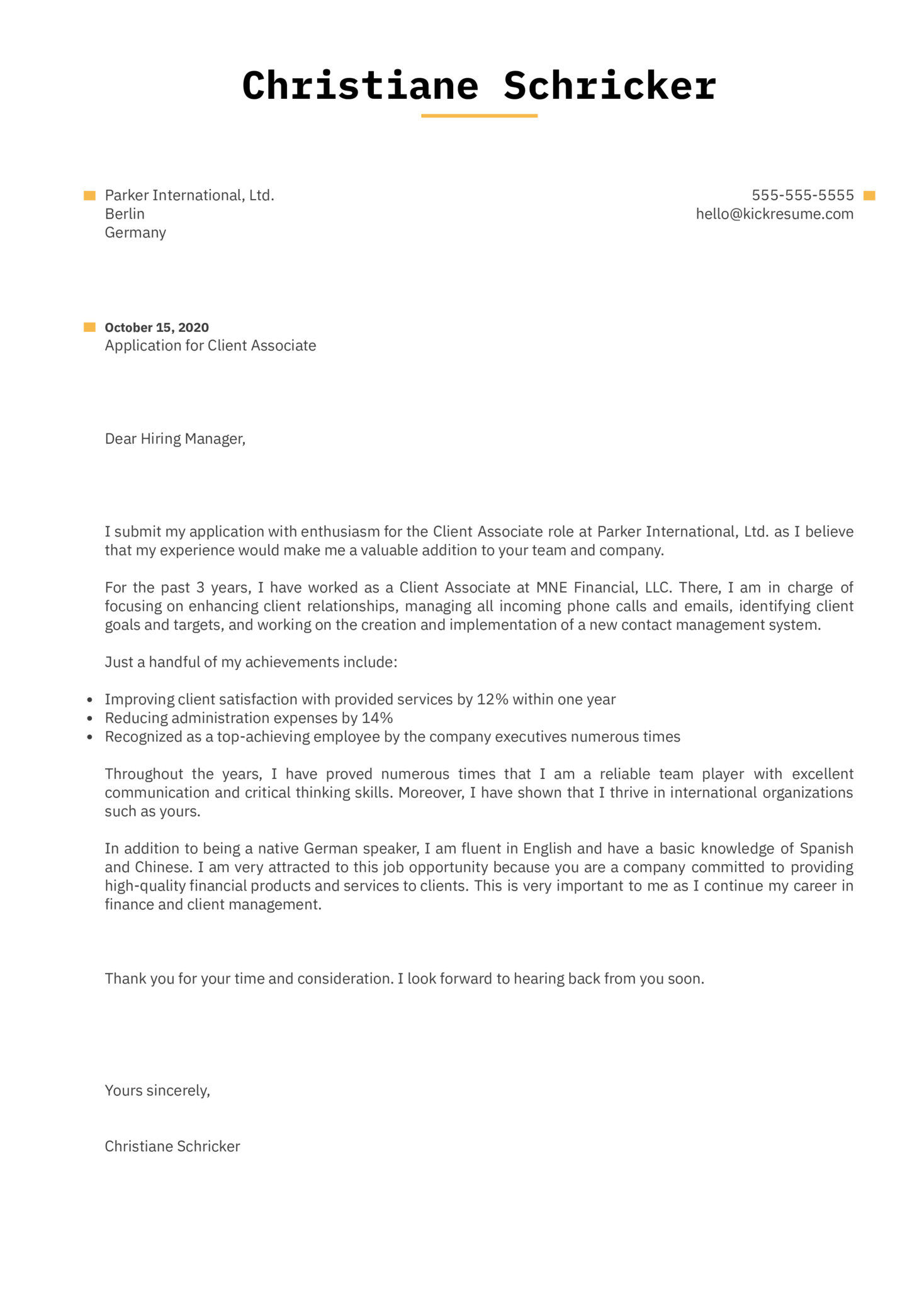 Client Associate Cover Letter Example