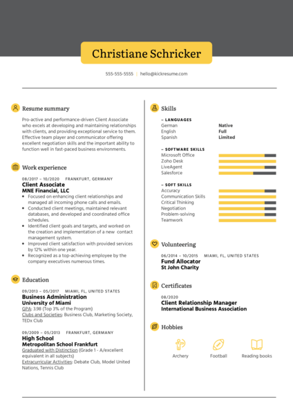 Client Associate Resume Example