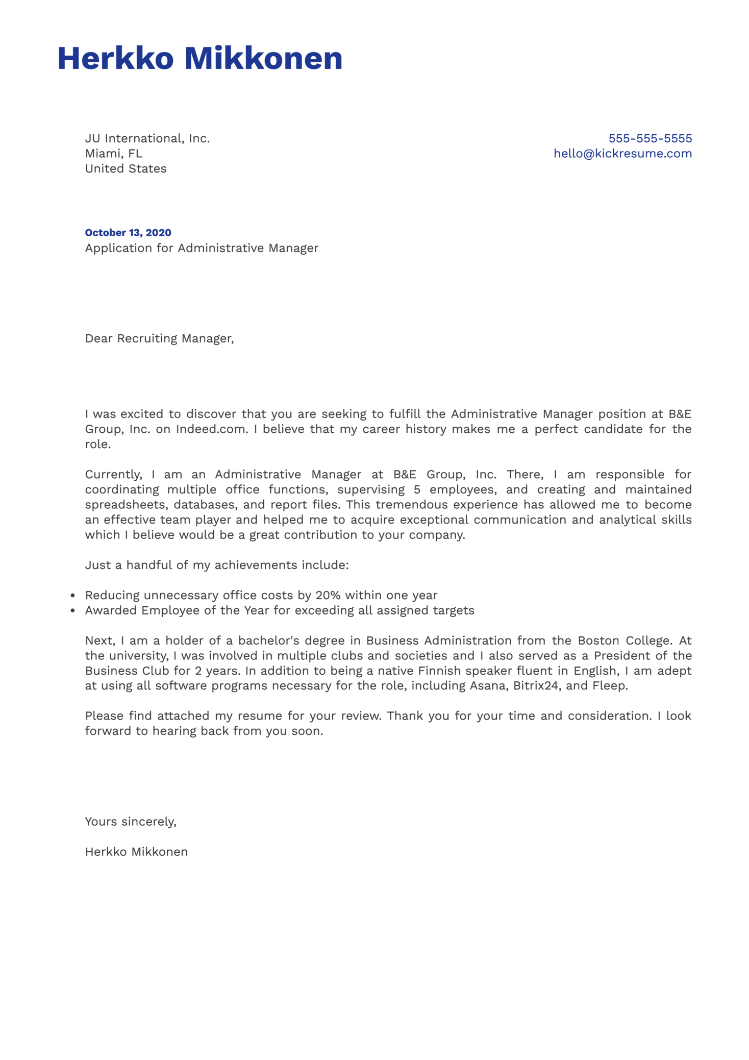 Administrative Manager Cover Letter Example