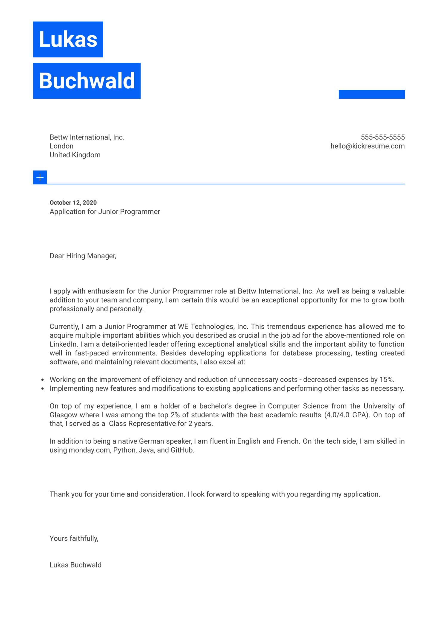Junior Programmer Cover Letter Example