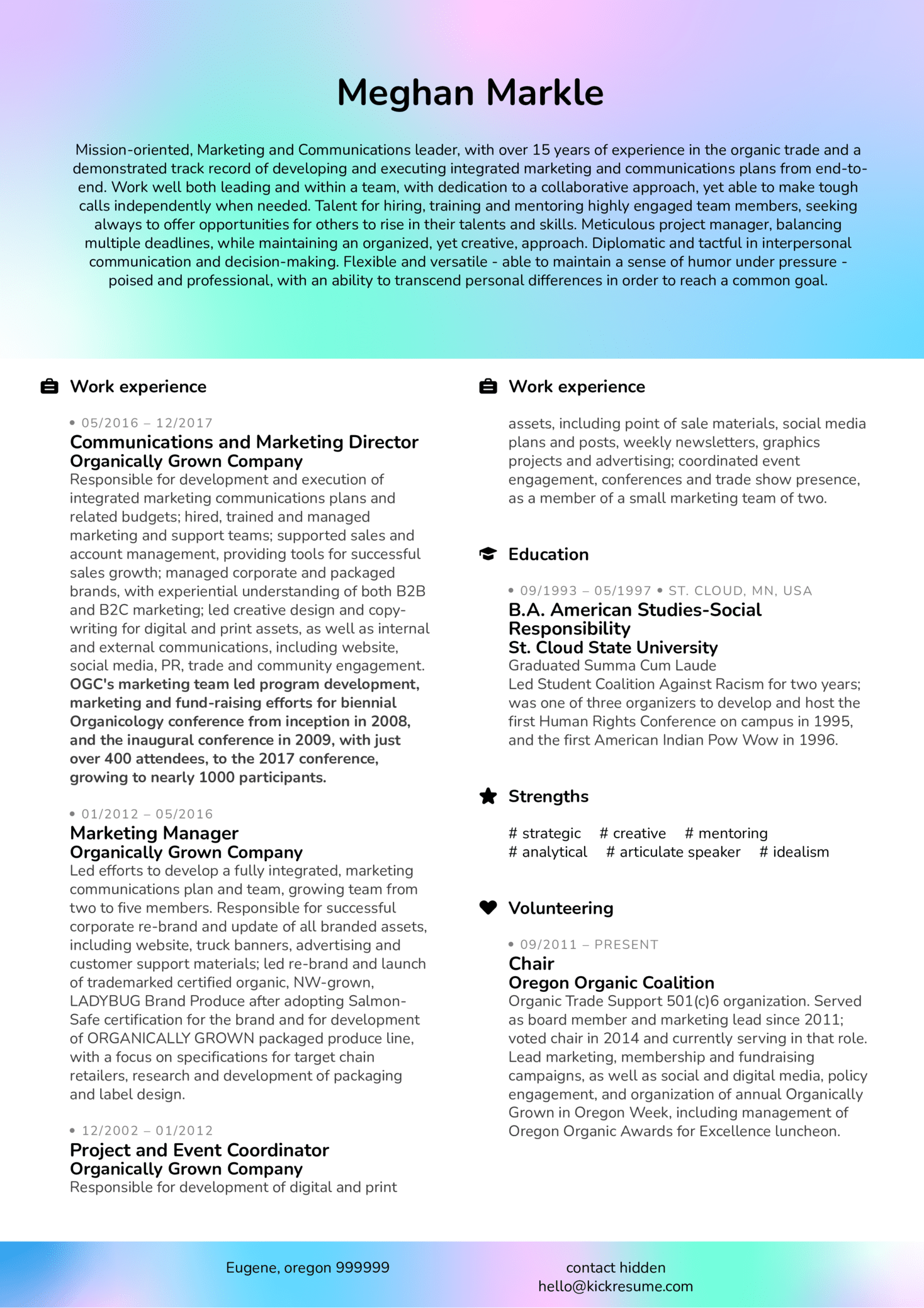Marketing Director Resume Sample (časť 1)
