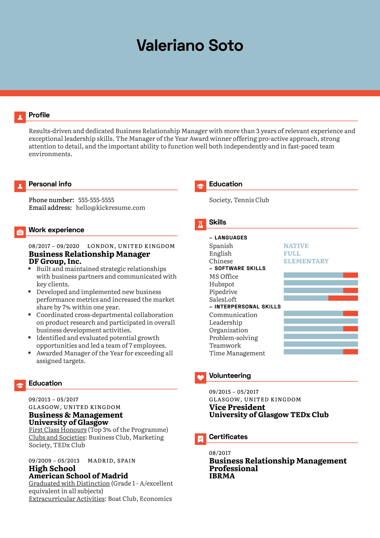 Business Relationship Manager Resume Example