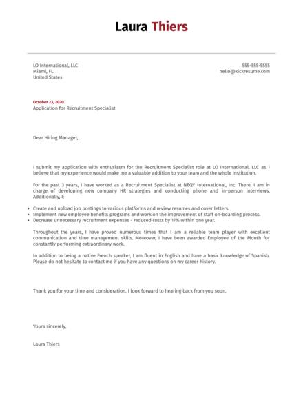 Recruitment Specialist Cover Letter Sample