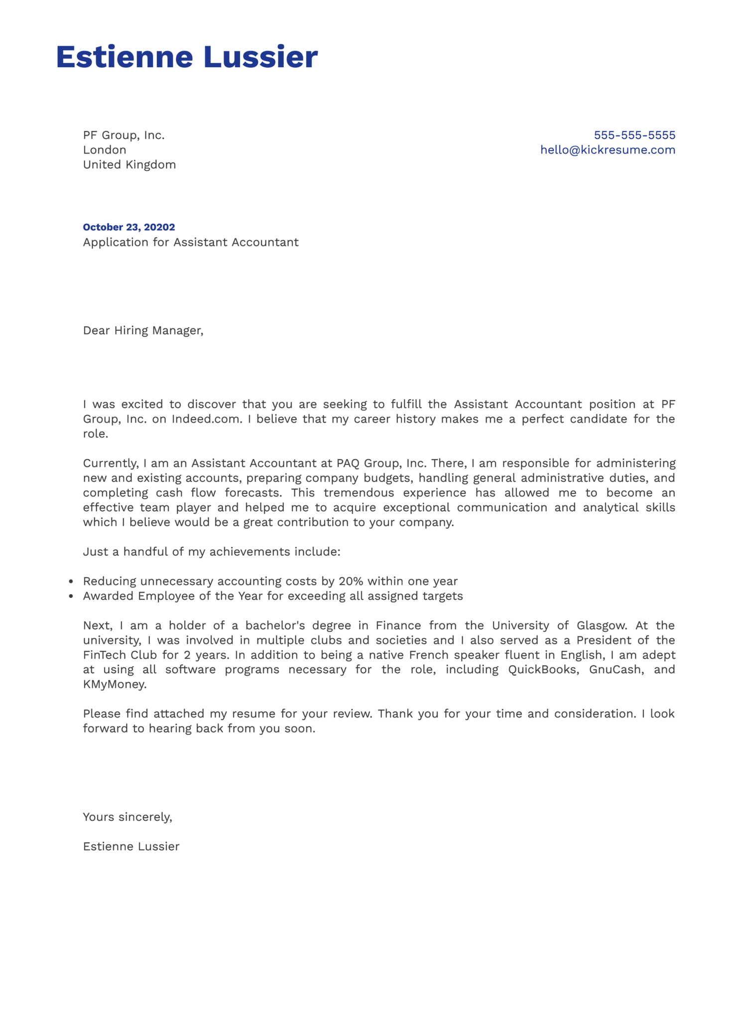 Assistant Accountant Cover Letter Example
