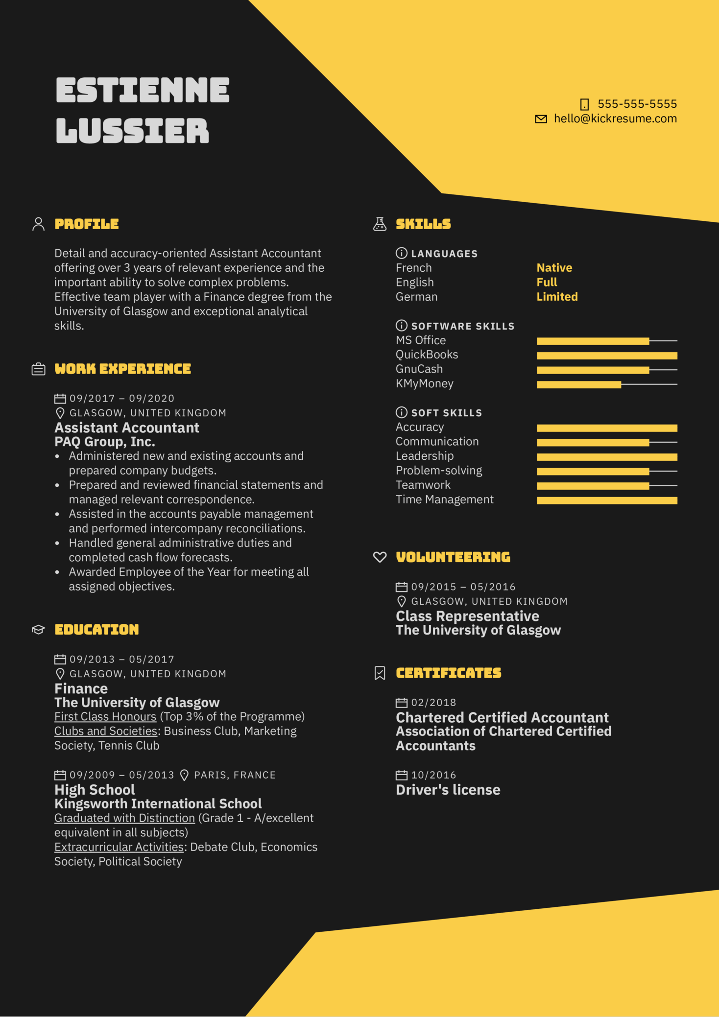 Assistant Accountant Resume Example