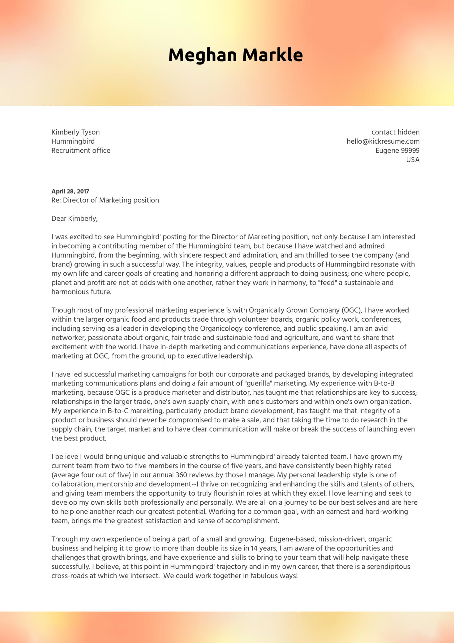 Marketing Director Cover Letter Sample (Teil 1)