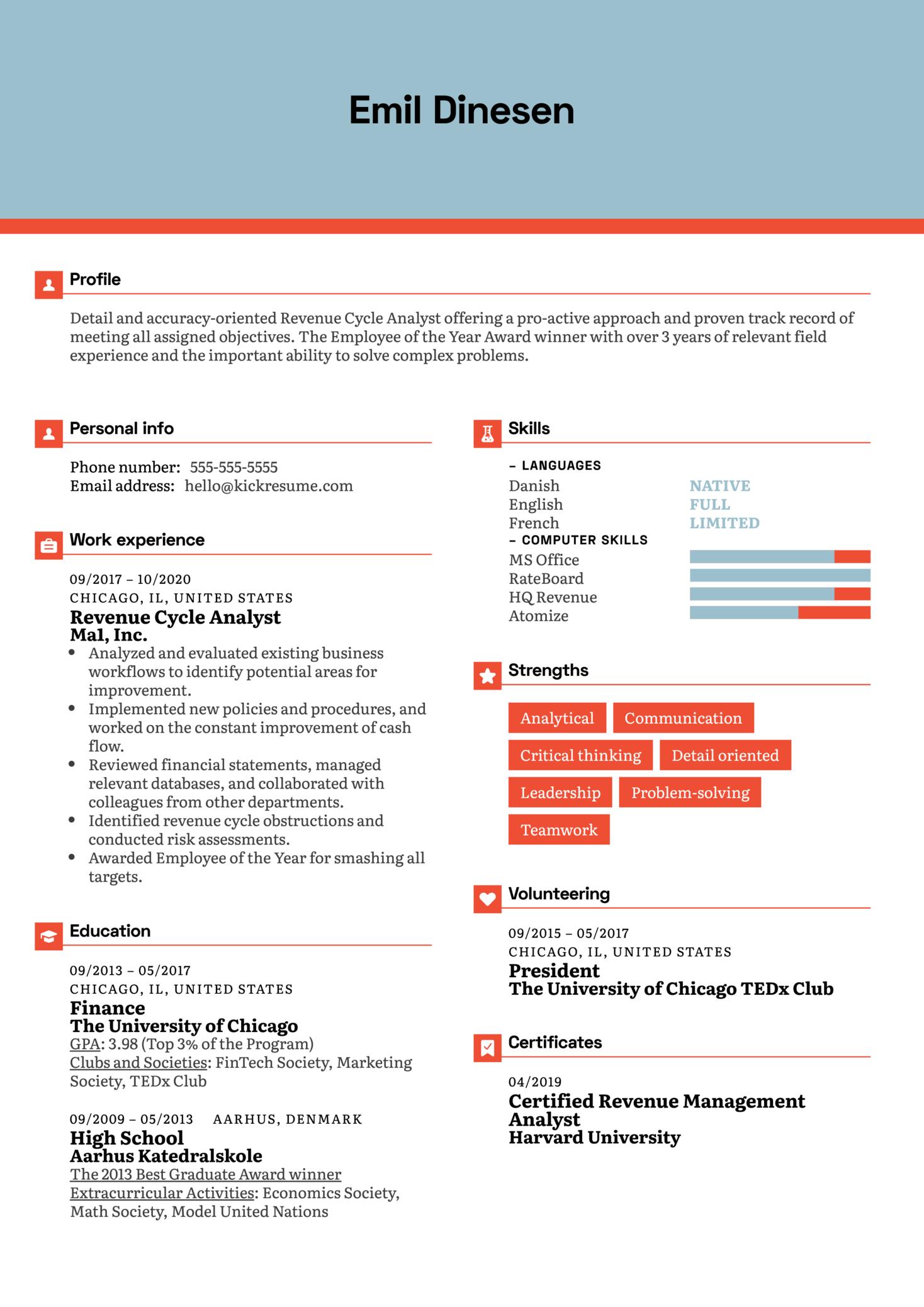 Revenue Cycle Analyst Resume Example