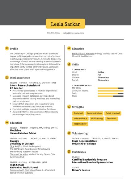 Medical School Resume Sample