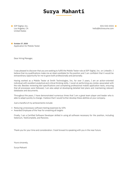 Computer Science Cover Letter Sample