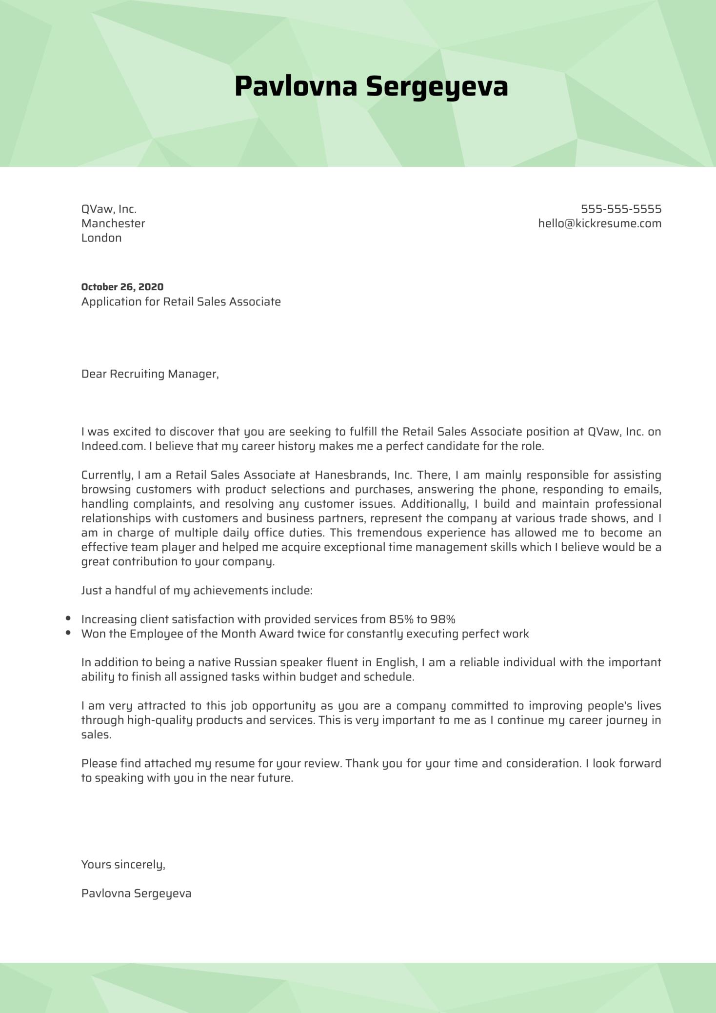 Retail Sales Associate Cover Letter Sample