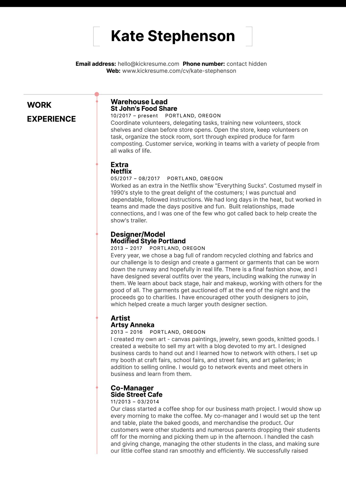 Starbucks Barista Resume Sample (parte 1)