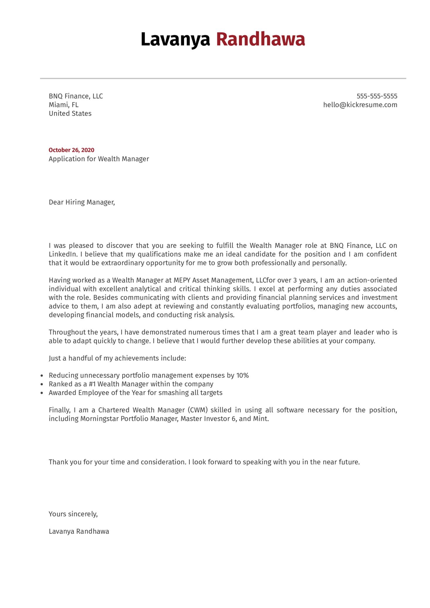 Wealth Manager Cover Letter Sample