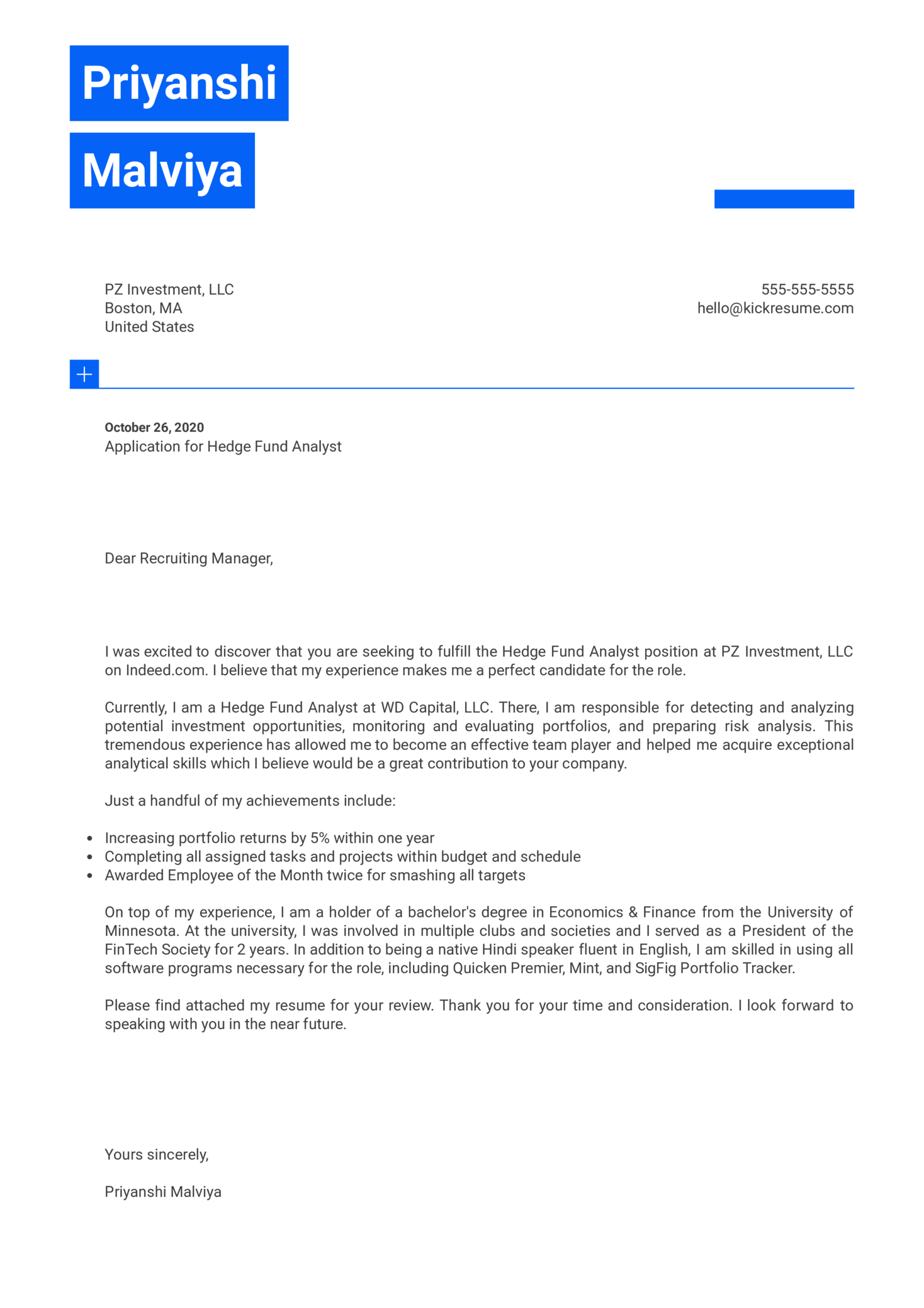 Hedge Fund Analyst Cover Letter Sample