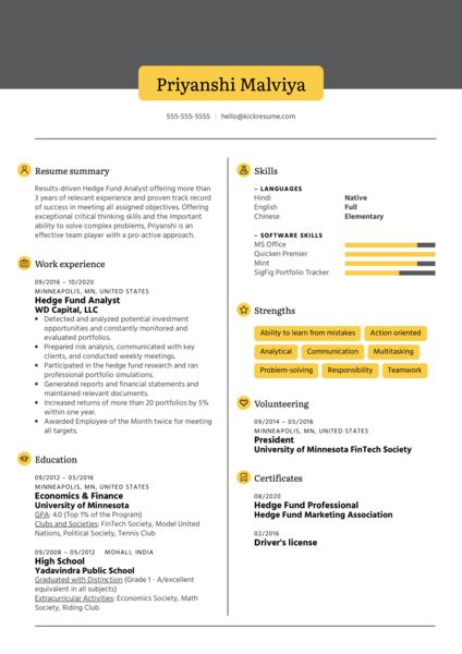 Hedge Fund Analyst Resume Sample