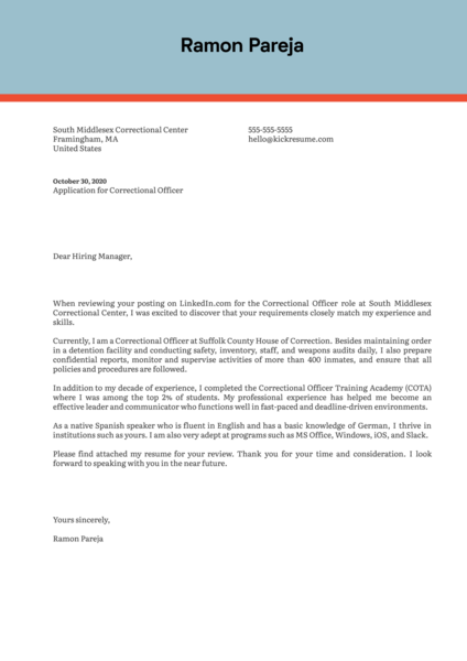 Correctional Officer Cover Letter Sample