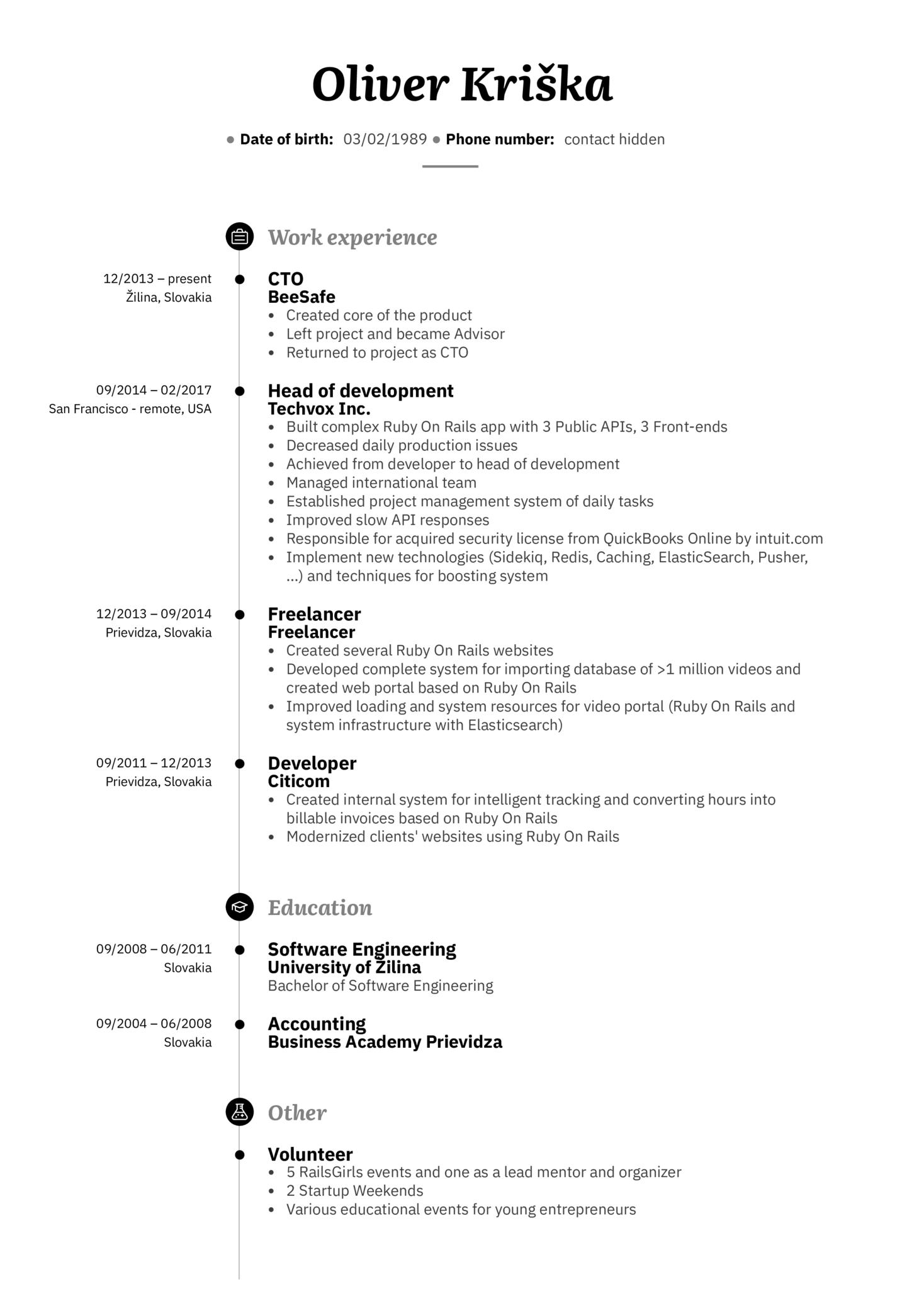 Senior Web Developer Resume Sample (Parte 1)