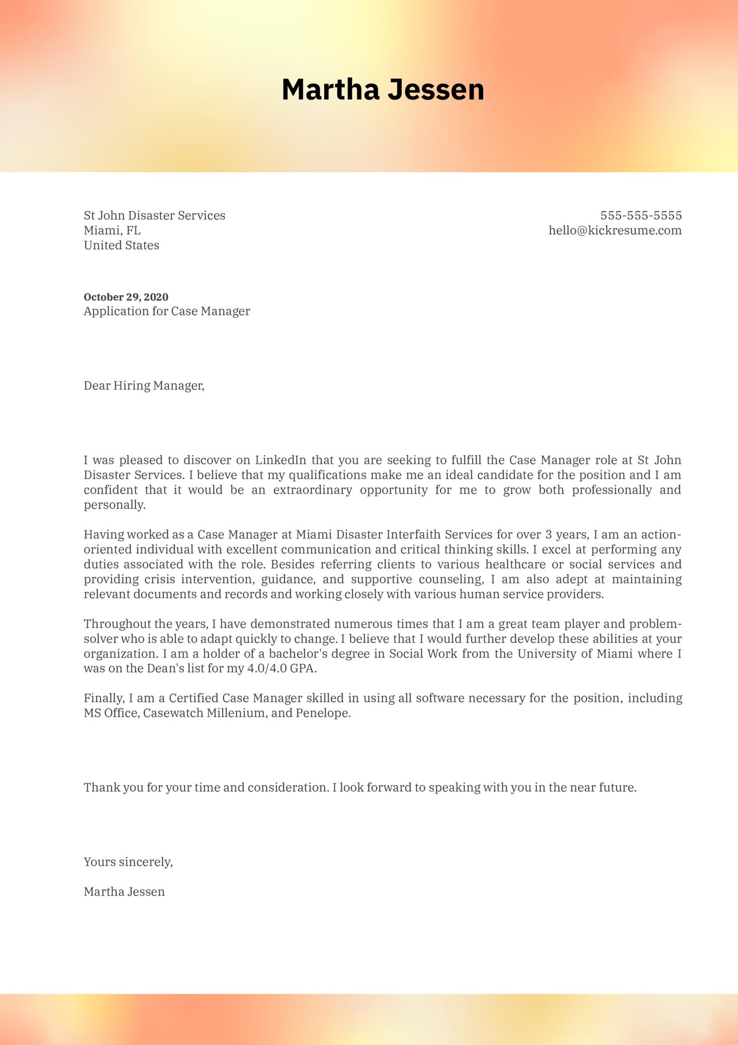 Case Manager Cover Letter Sample