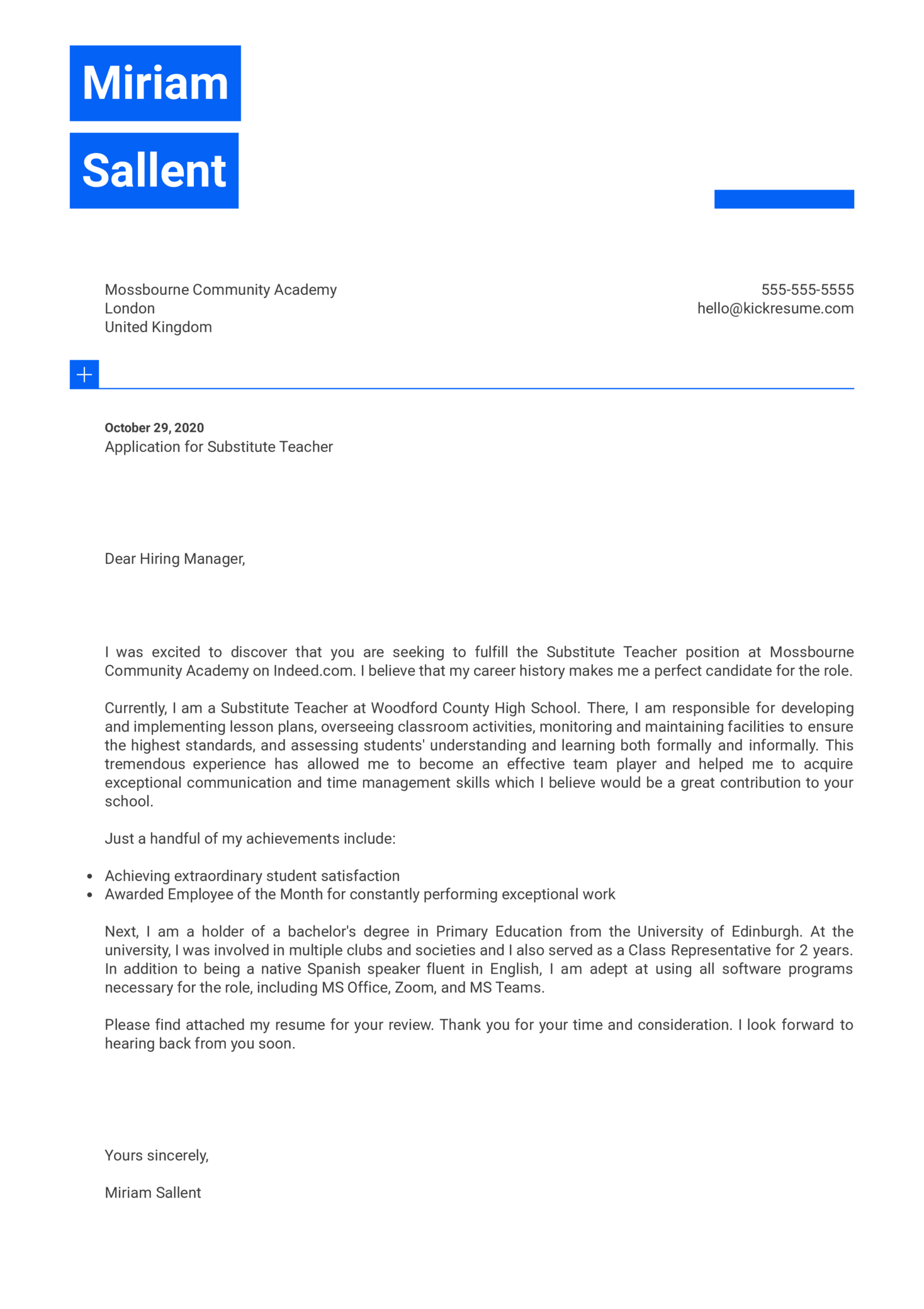 Substitute Teacher Cover Letter Sample