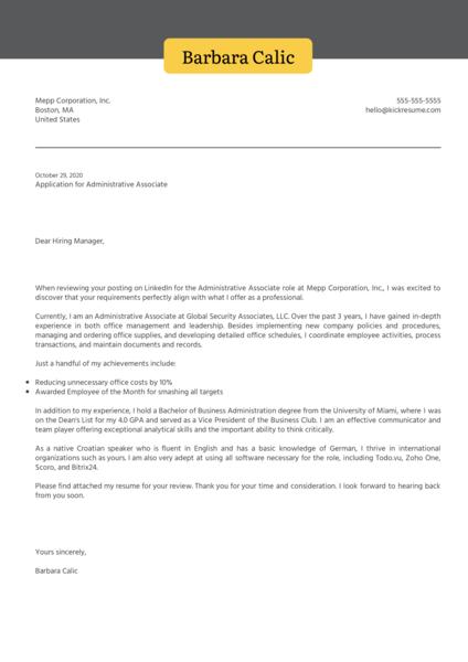 Administrative Associate Cover Letter Sample