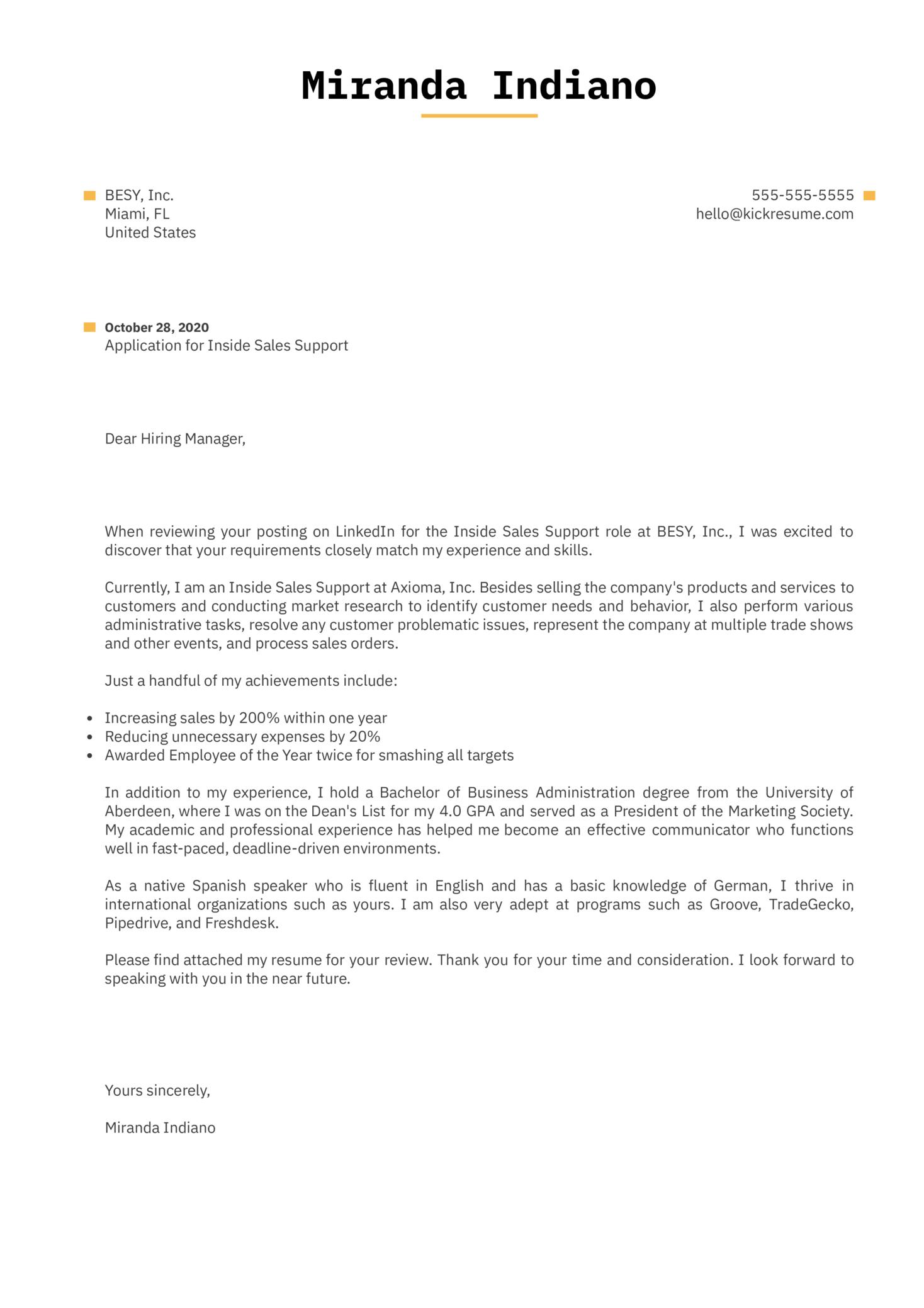 Inside Sales Support Cover Letter Sample
