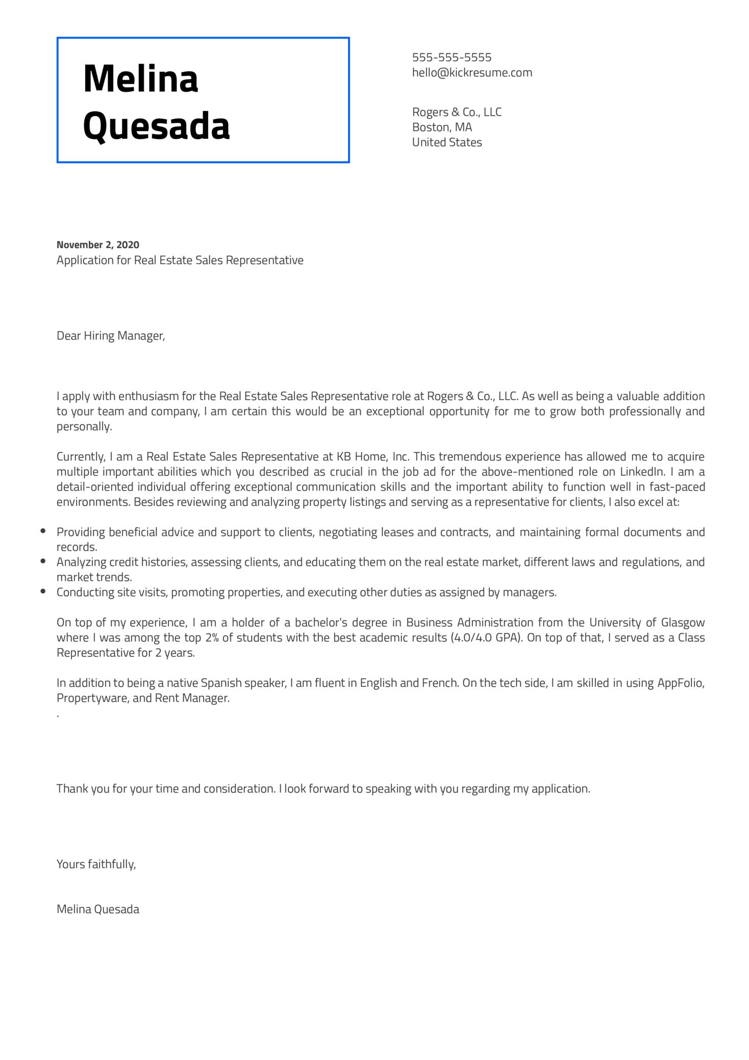Real Estate Sales Representative Cover Letter Sample