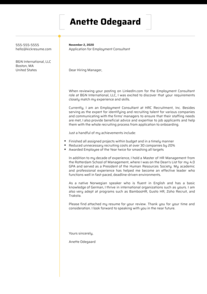 Employment Consultant Cover Letter Sample