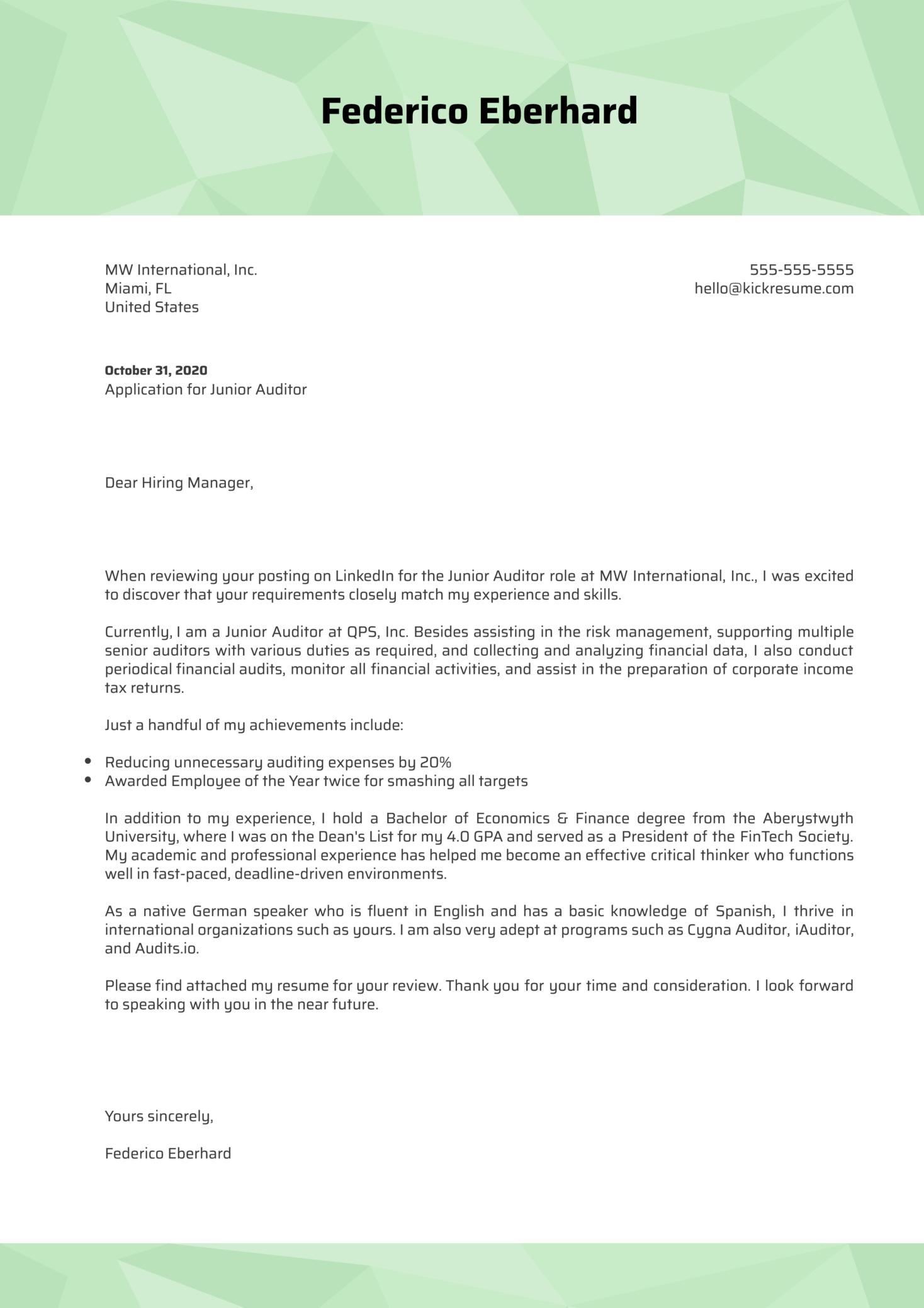 Junior Auditor Cover Letter Sample