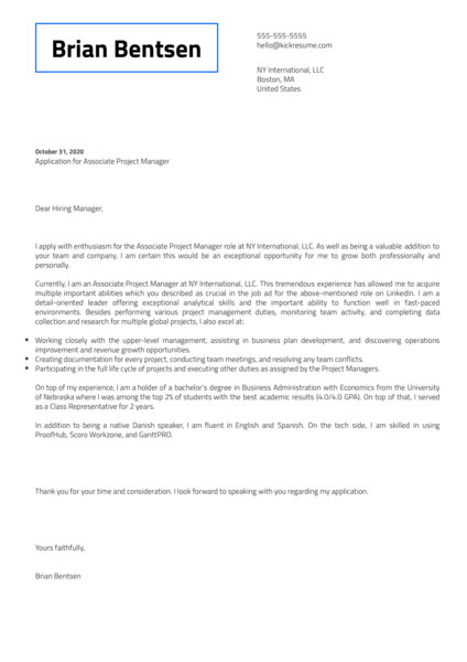 Associate Project Manager Cover Letter Sample
