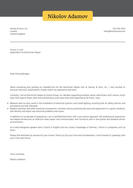 Electrician Helper Cover Letter Sample