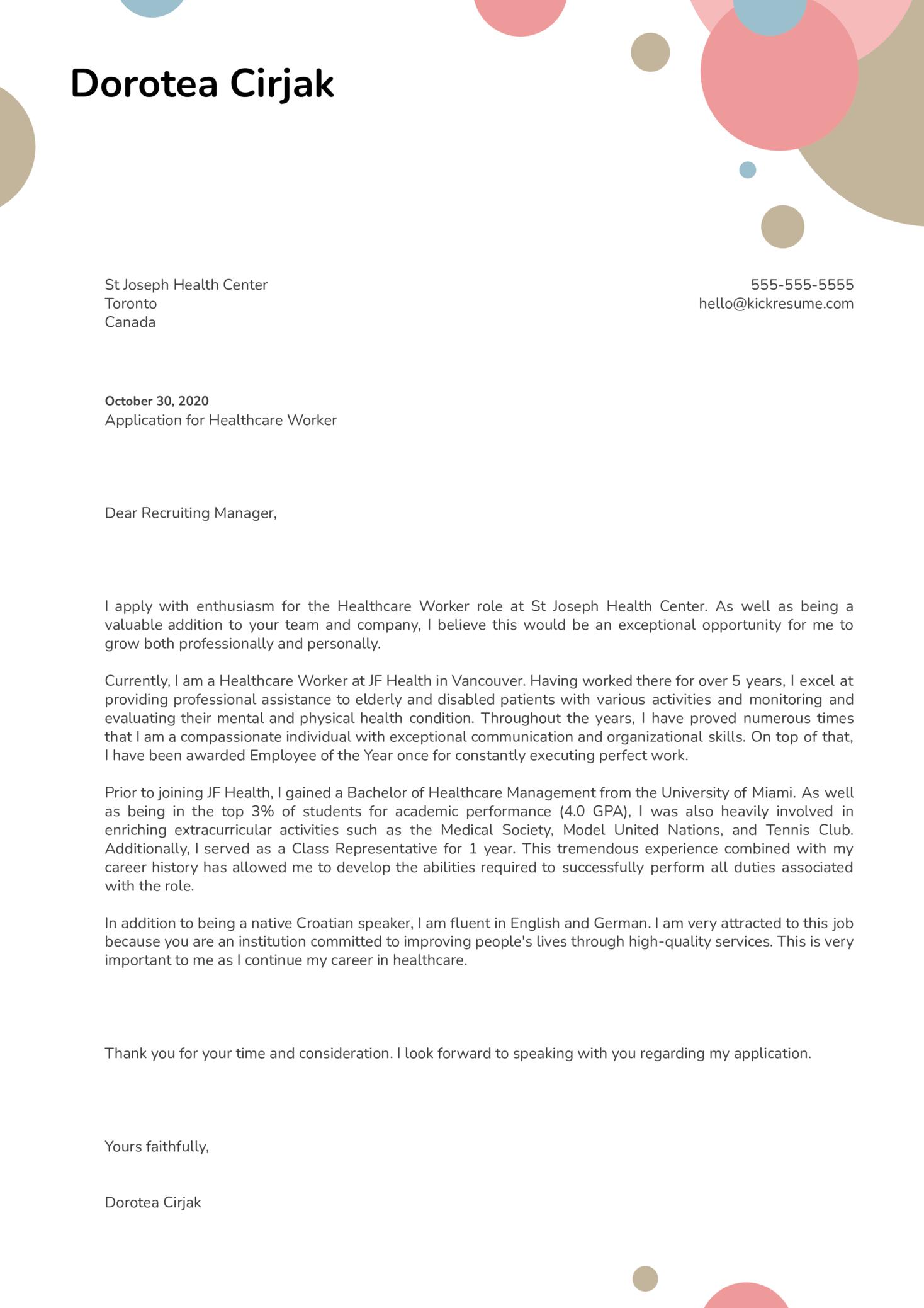 Healthcare Worker Cover Letter Sample