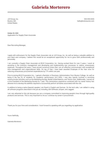 Supply Chain Associate Cover Letter Sample