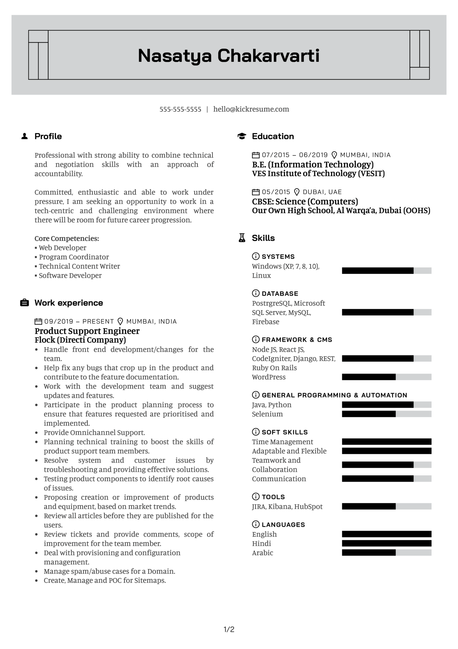 Product Engineer at Flock Resume Sample (Part 1)