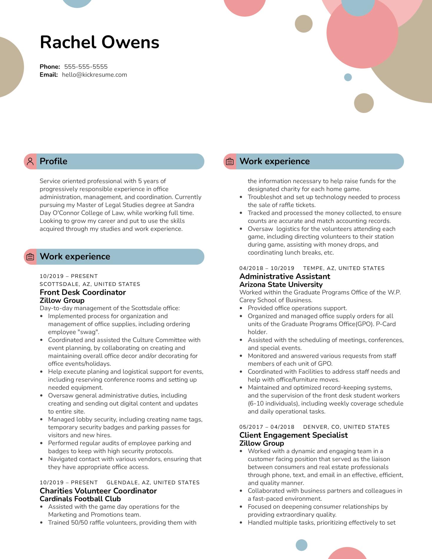 Front Desk Coordinator at Zillow Group Resume Sample (Parte 1)