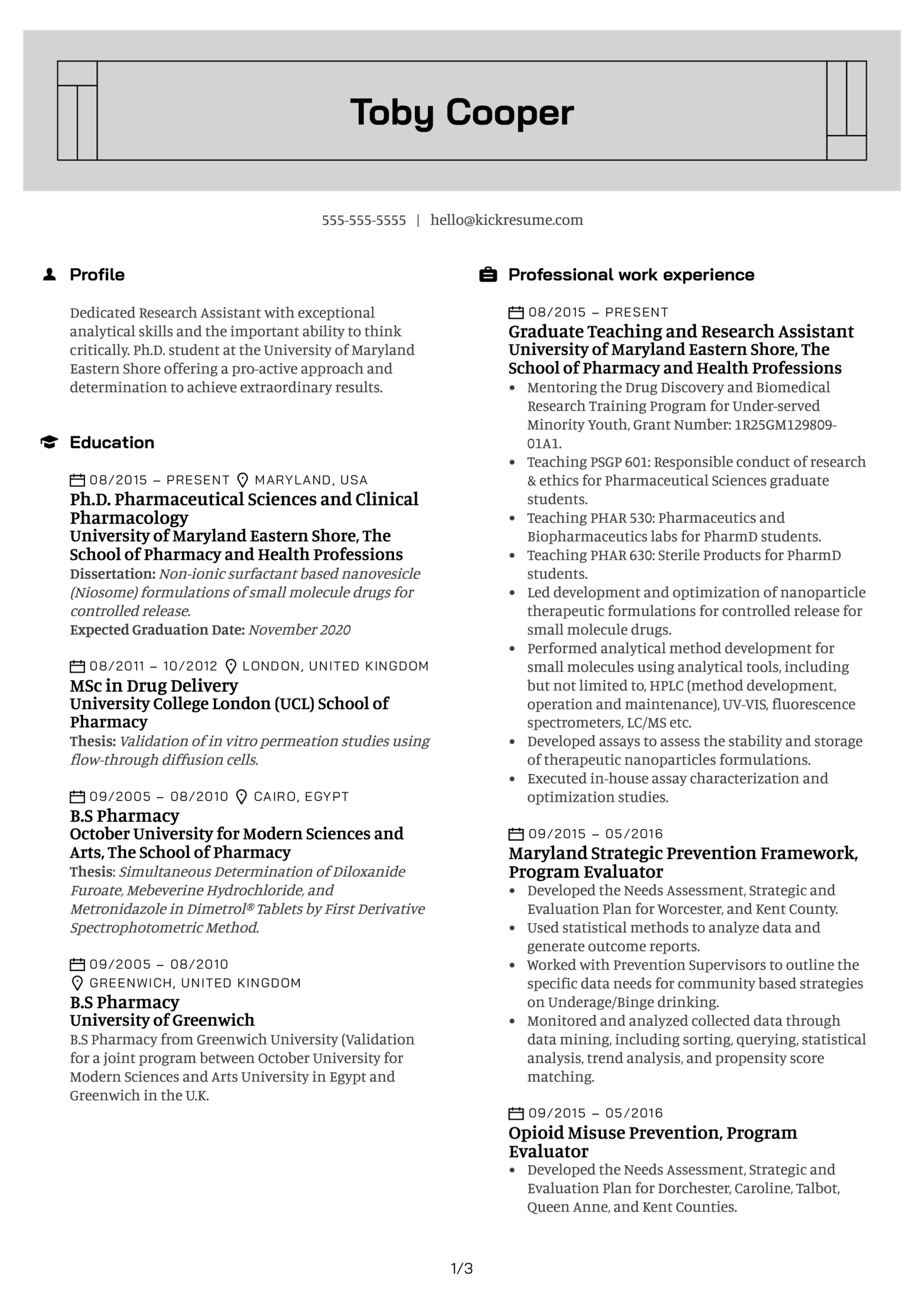 Research Assistant at University of Maryland Eastern Shore Resume Sample (Part 1)