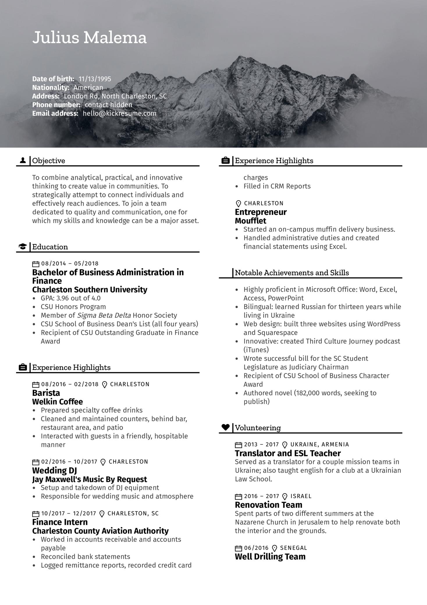 Finance Intern Resume Example (parte 1)