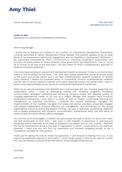 Institutional Development Practitioner Cover Letter Sample