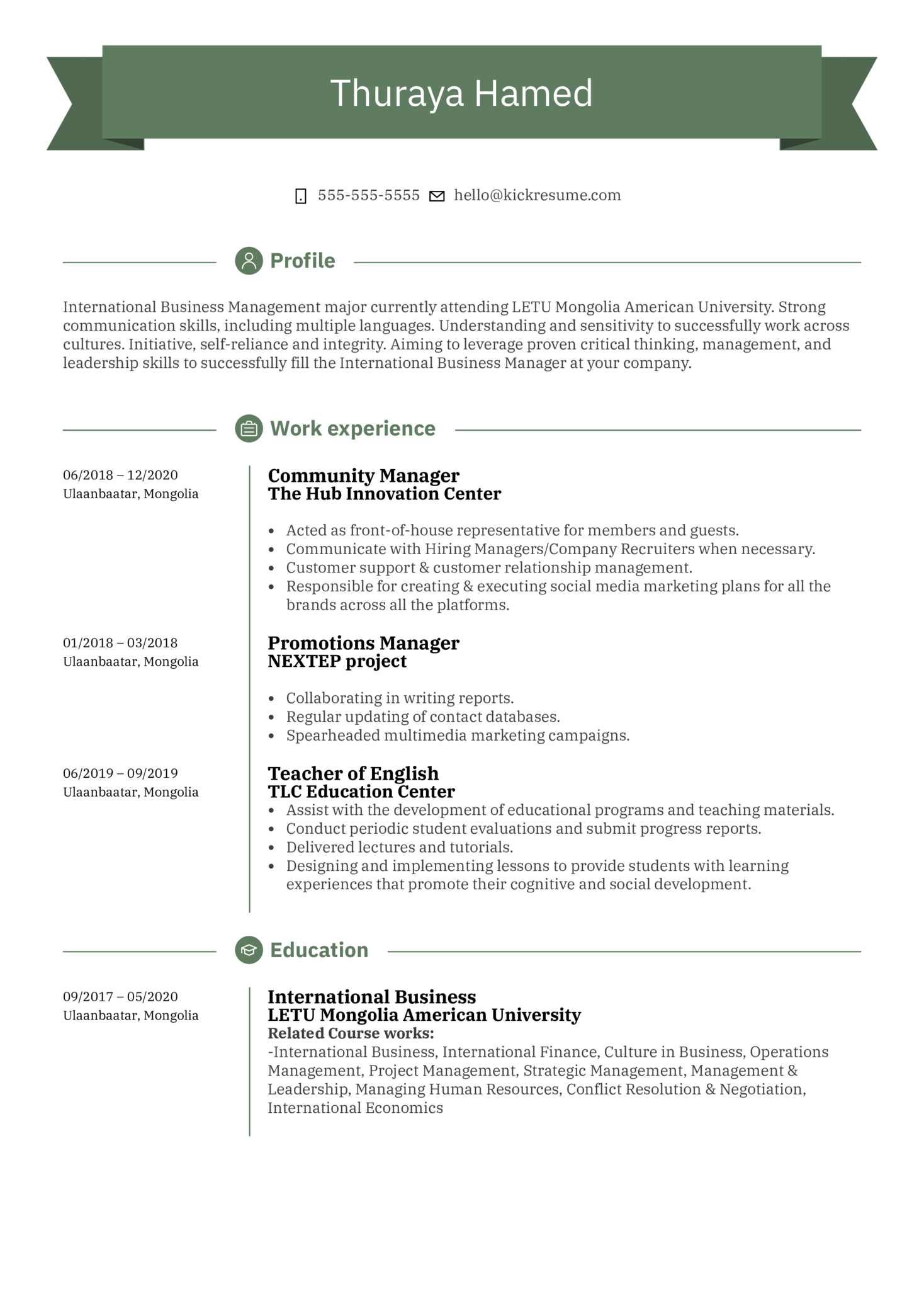 UNFPA Intern Resume Sample (Part 1)