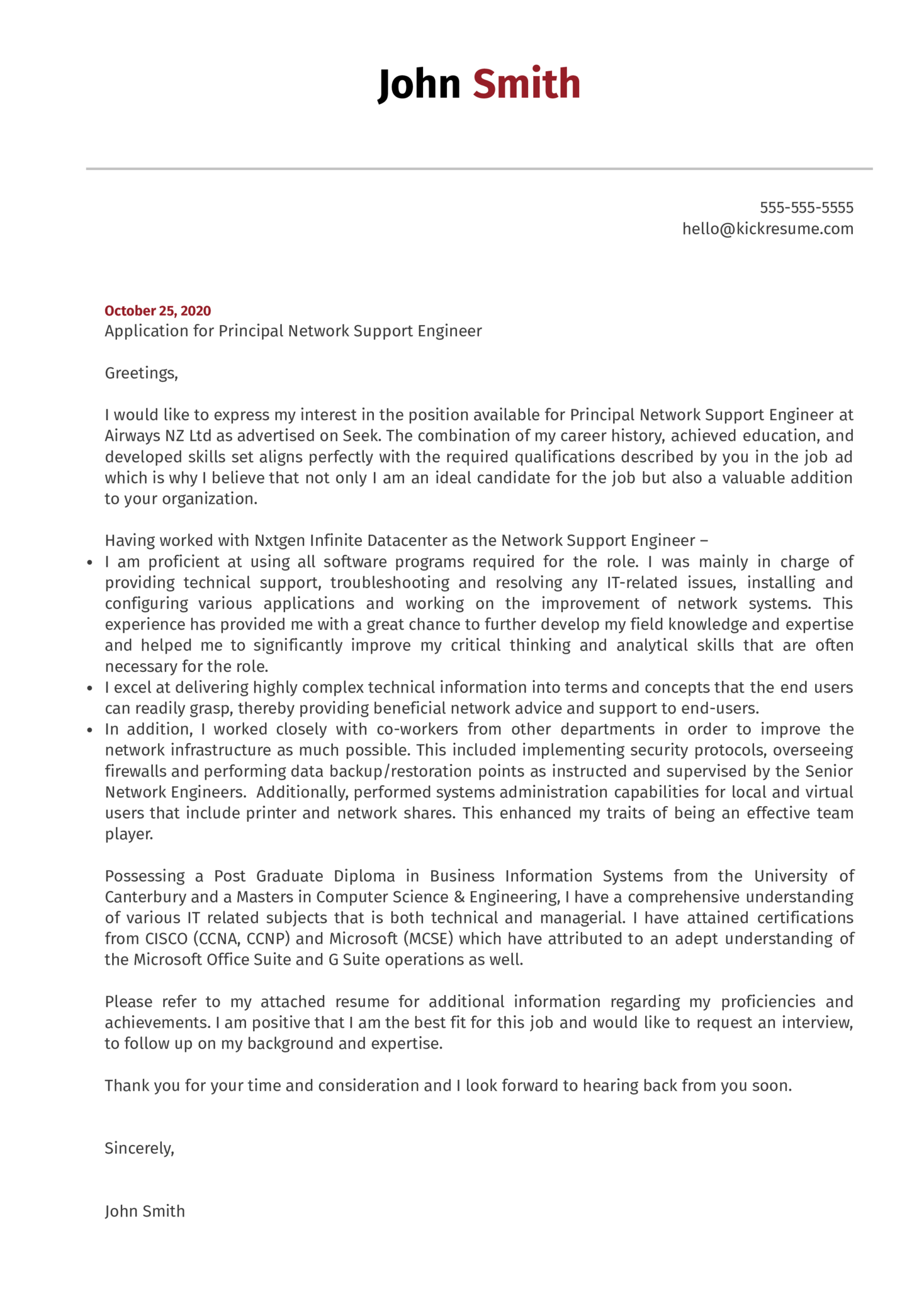 Principal Network Support Engineer Cover Letter Sample