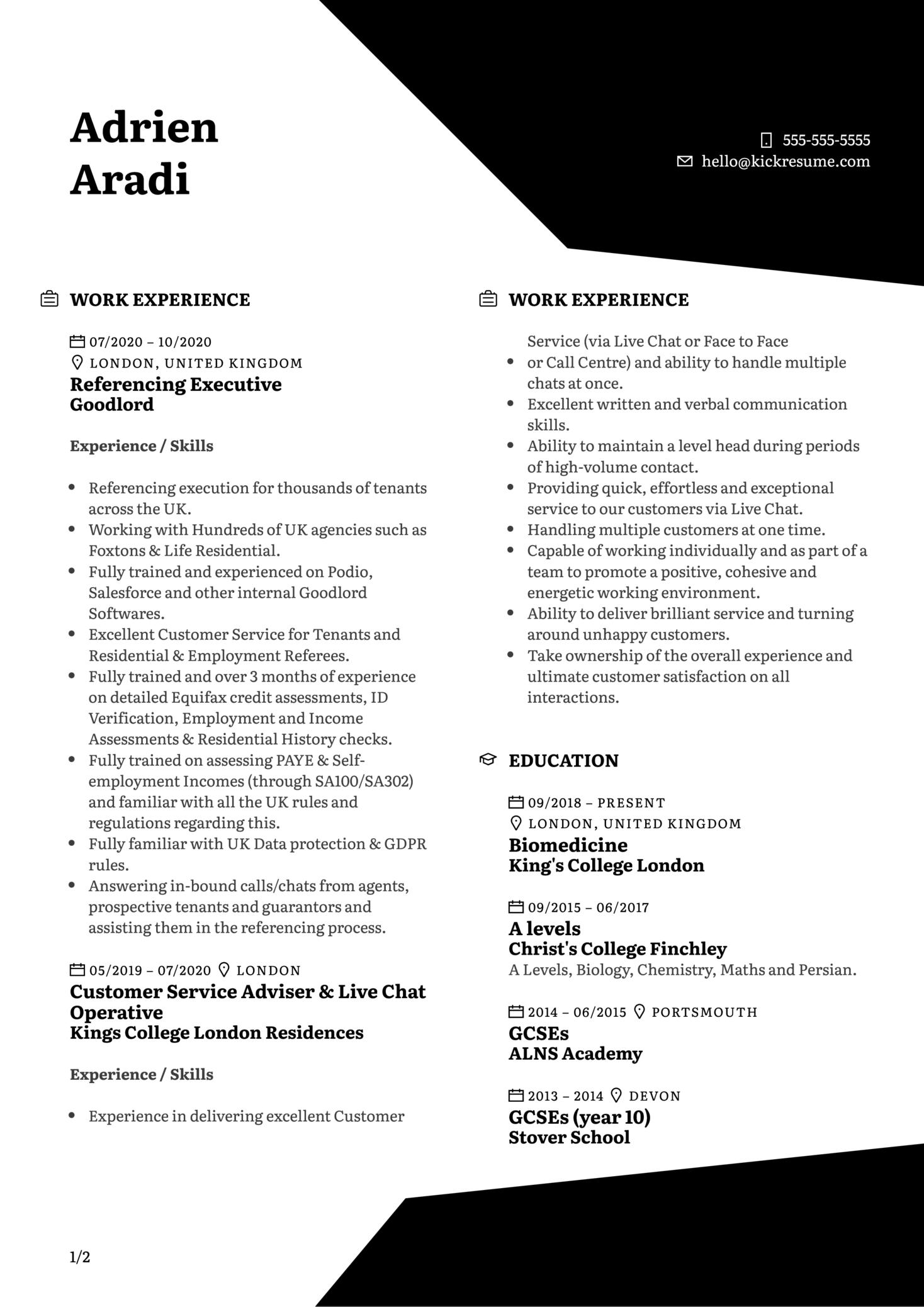 Enrolment Coordinator at Hult Resume Sample (Part 1)