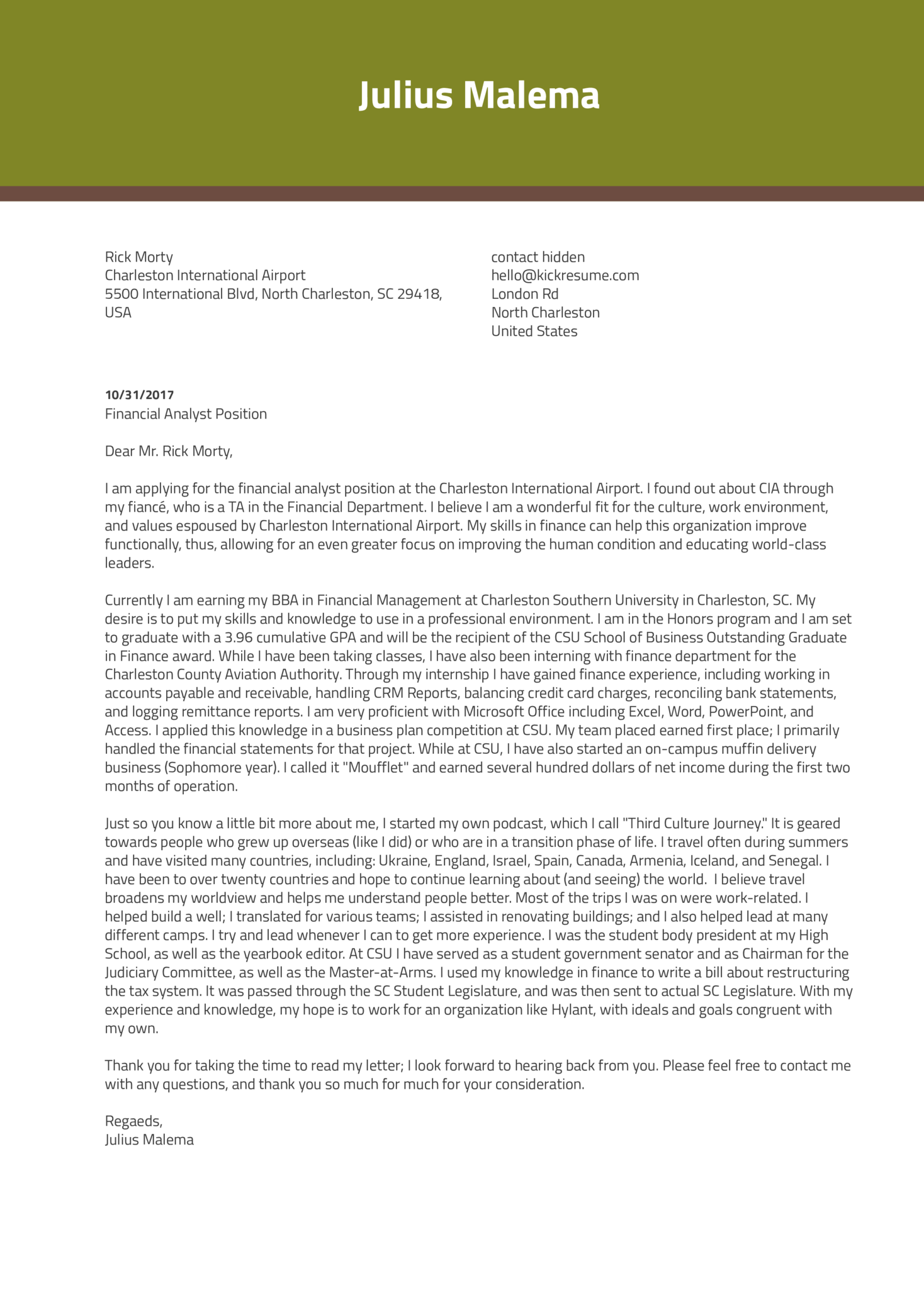 Finance Intern Cover Letter Example