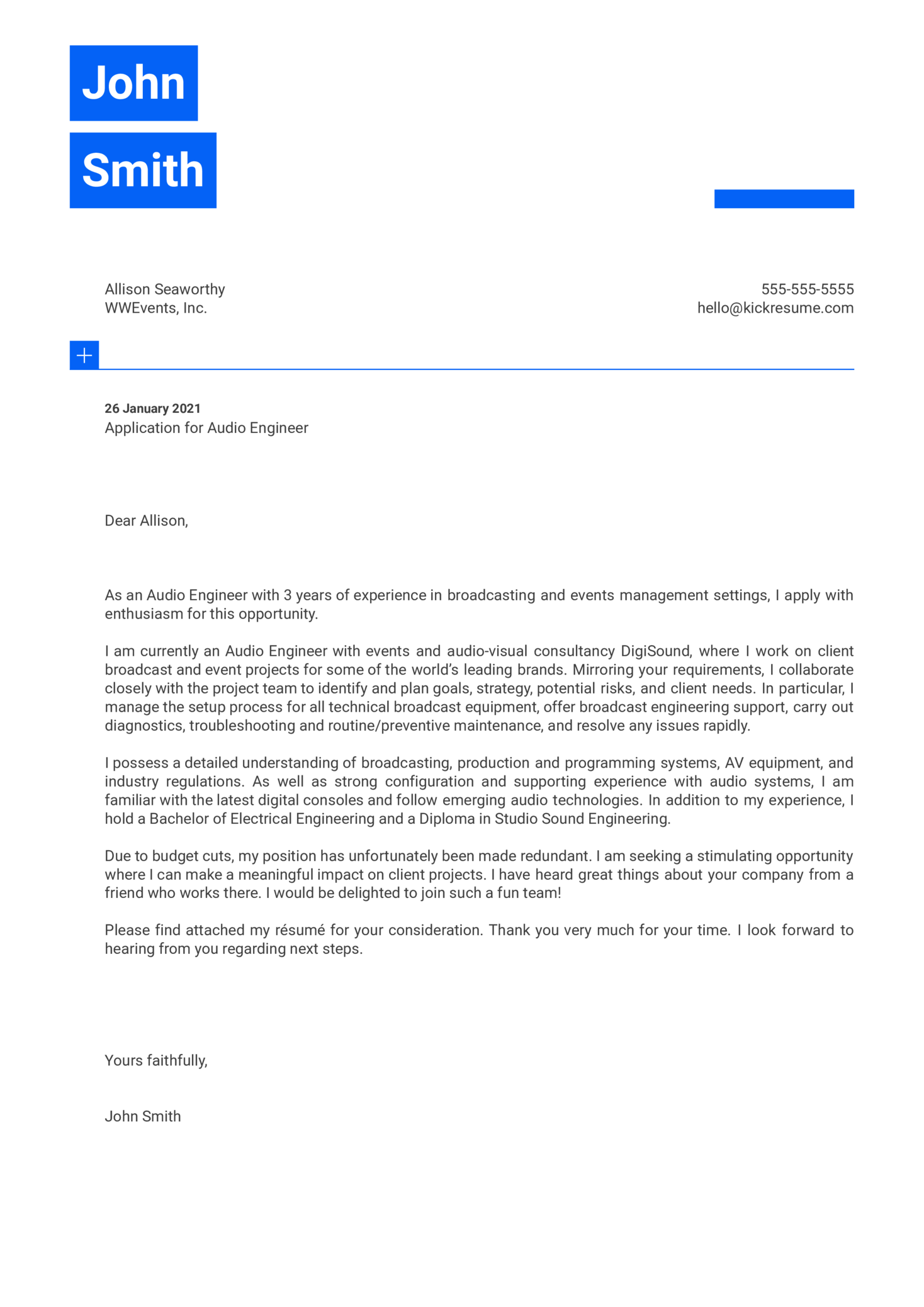 Audio Engineer Cover Letter Example