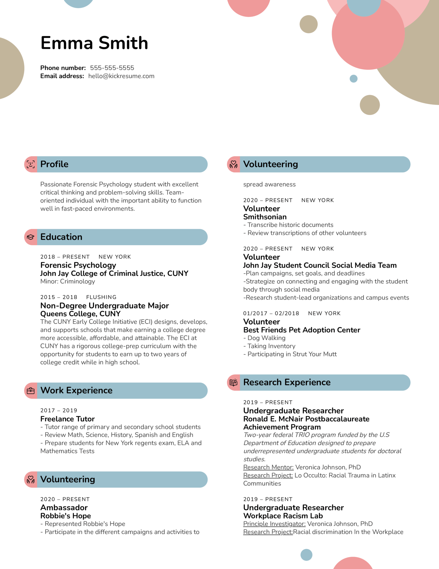 Research Extern at American Foundation for Suicide Prevention Resume Sample (Part 1)