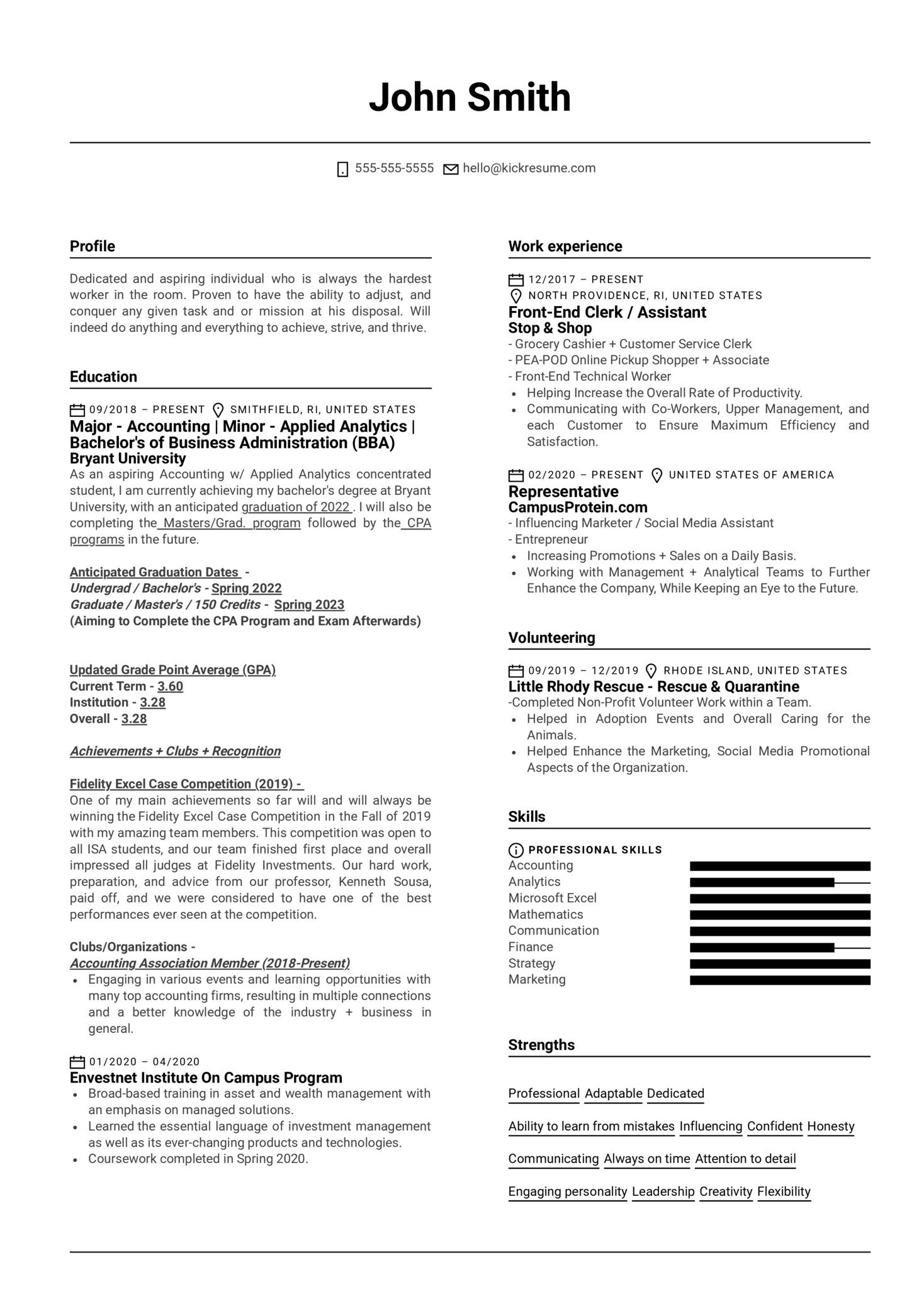 Front End Assistant at Stop & Shop Resume Sample