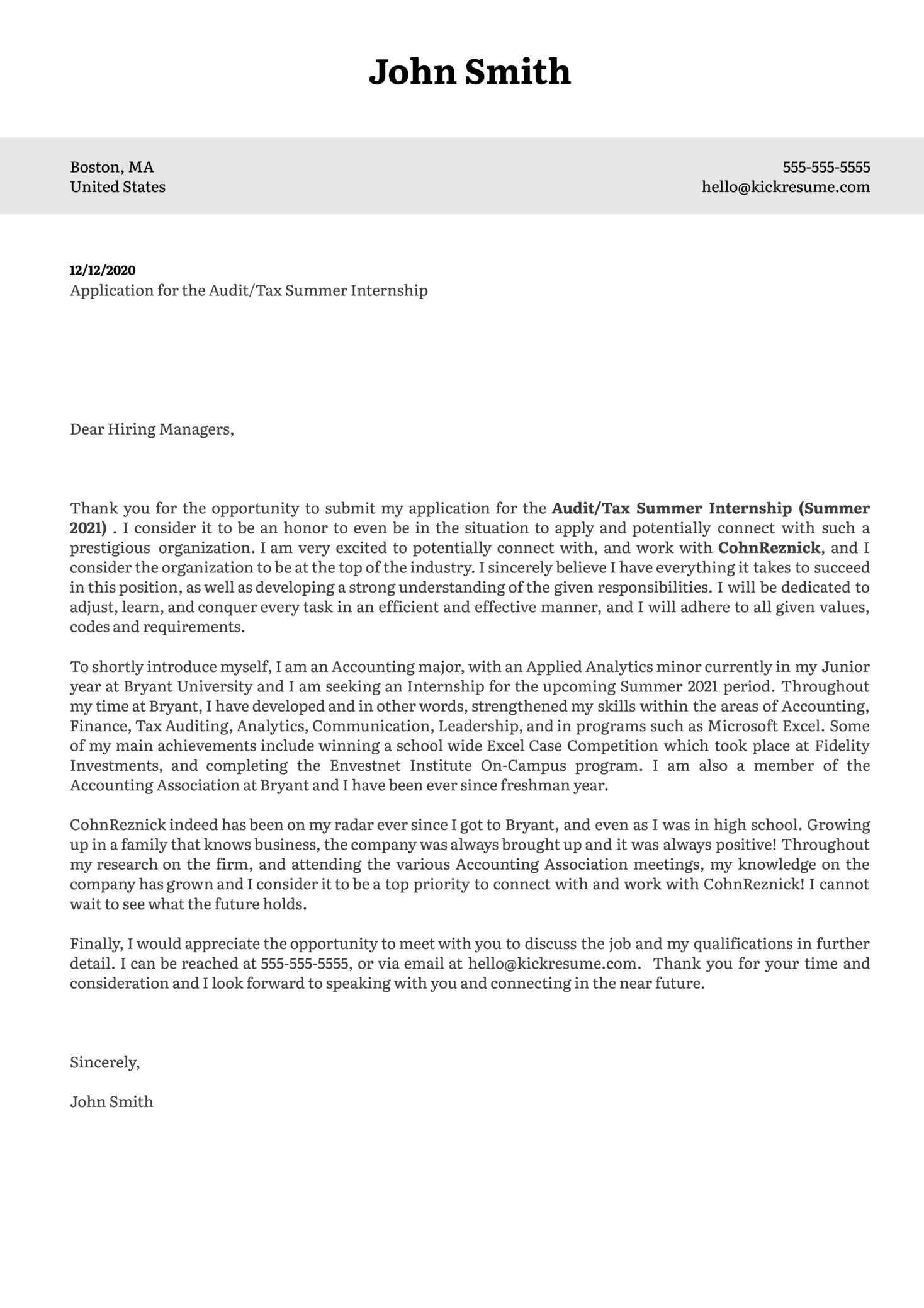 Audit/Tax Summer Internship at CohnReznick Cover Letter Sample