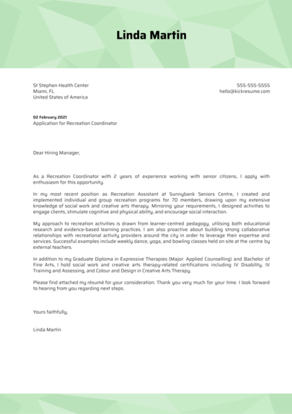 Recreation Coordinator Cover Letter Template