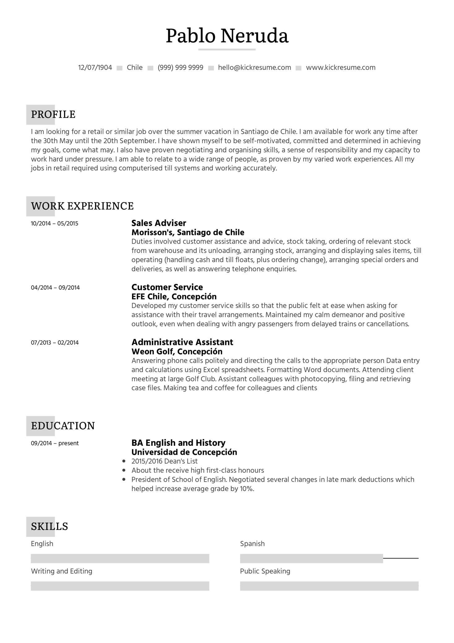 Student Resume Summer Job (Teil 1)