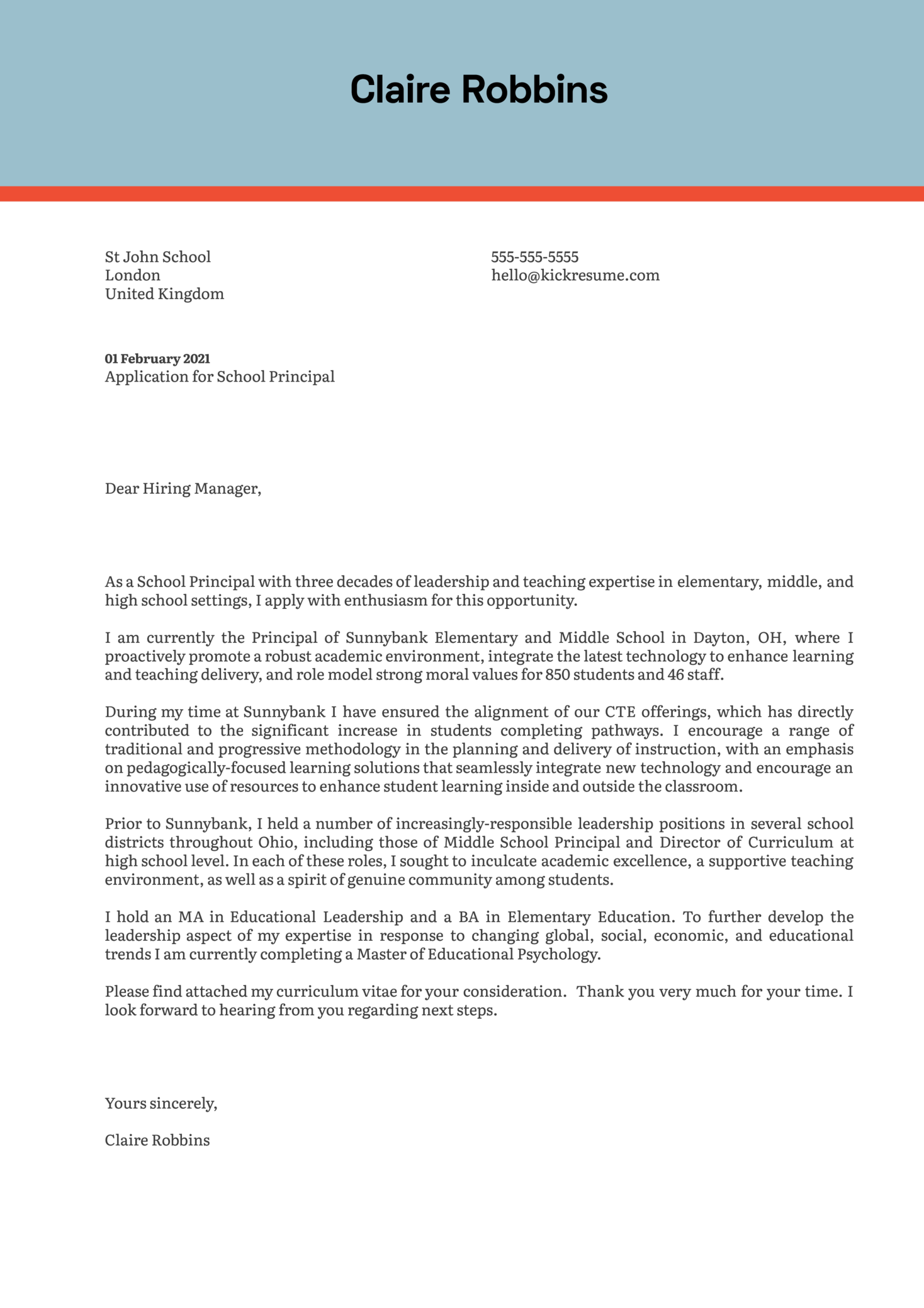 School Principal Cover Letter Example