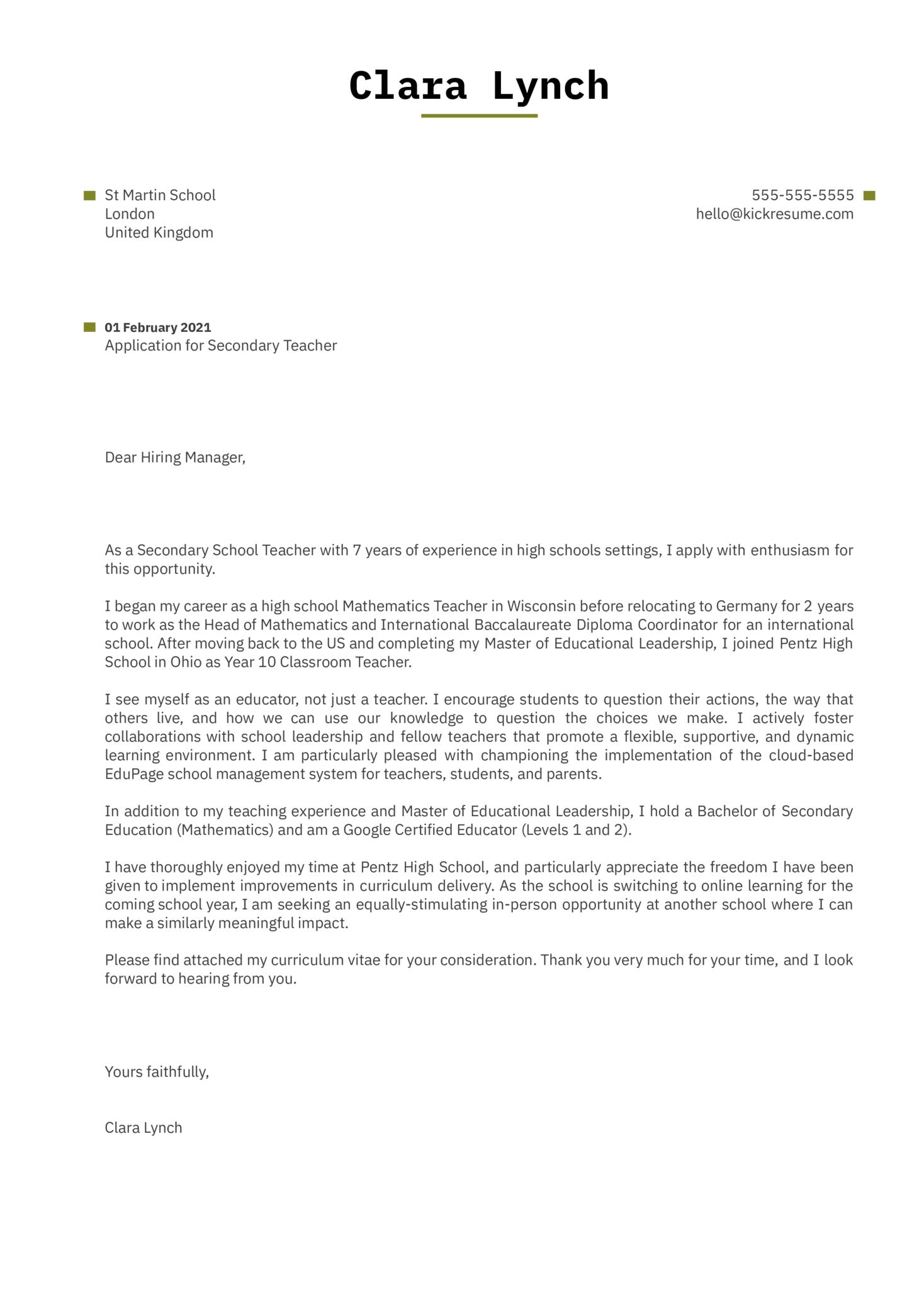 Secondary Teacher Cover Letter Template