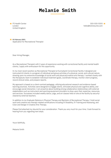 Recreational Therapist Cover Letter Sample