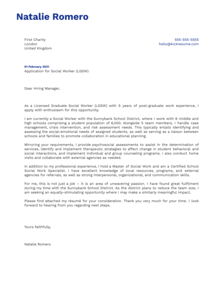 Social Worker (LGSW) Cover Letter Template